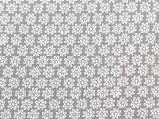 Baumwollstoff Streublümchen, weiß taupe