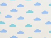 French Terry Sweat Wolken Boho, hellblau cremeweiß
