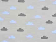 RESTSTÜCK 26 cm French Terry Sweat Wolken Boho, hellblau hellgrau