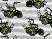 French Terry Sweat Traktor, grün hellgrau