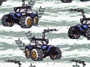 French Terry Sweat Traktor, blau hellmint