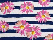 French Terry Sweat Streifen Blumen, rosa blau weiß