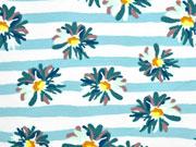 French Terry Sweat Streifen Blumen, aquamarin mint weiß
