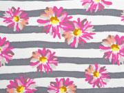 French Terry Sweat Streifen Blumen, rosa grau weiß
