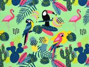 Jersey Aloha tropische Vögel und Blätter, hellgrün