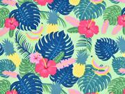 Jersey Aloha tropische Blätter Ananas, hellgrün