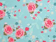 Jersey Blumen Blätter Asia Look, mint