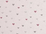 Baumwollstoff kleine Herzen, rosa