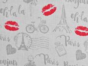 Baumwollstoff Paris Eiffelturm Kussmund, hellgrau