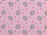 Baumwollstoff Blumenbouquet, rosa