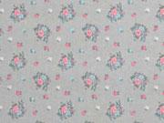 RESTSTÜCK 39 cm Baumwollstoff Blumen Rosen, rosa grau