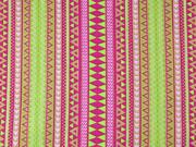 Baumwollstoff Inka Look Zickzack, hellgrün pink