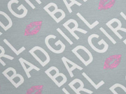 French Terry Sweat Bad Girl Schrift Kussmund, weiß grau