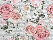 Jersey Digitaldruck Rosen Streifen, grau weiß