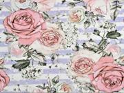 Jersey Digitaldruck Rosen Streifen, flieder weiß