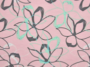 French Terry Sweat Blumen, grau rosa