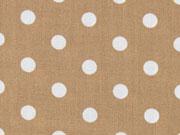 beschichtete Baumwolle Punkte 9mm, weiß auf beige