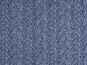 Jacquardjersey Stoff Zopfmuster, jeansblau