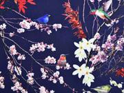 Softshell Stoff Stoff Kirschblüten Vögel, dunkelblau