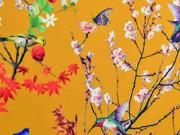 Softshell Stoff Kirschblüten Vögel, ocker