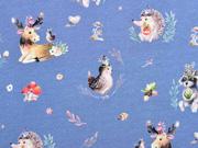 Jersey Waldtiere Boho Digitaldruck, jeansblau