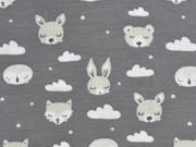 Jersey Hasen Füchse Bären Wolken, cremeweiß mittelgrau