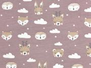 Jersey Hasen Füchse Bären Wolken , cremeweiß altrosa