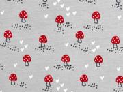 Jersey rote Pilze Herzen, hellgrau