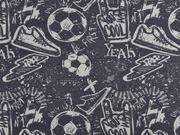 Sweatstoff Fußball Turnschuhe Schriften, hellgrau dunkelgrau