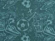 RESTSTÜCK 34 cm Sweatstoff Fußball Turnschuhe Schriften, mint petrol