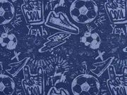 Sweatstoff Fußball Turnschuhe Schriften, jeansblau dunkelblau