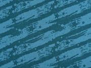RESTSTÜCK 116 cm Sweatstoff Striche Sterne, mint petrol