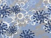 Sweatstoff French Terry Sternblumen,dunkelblau hellblau grau