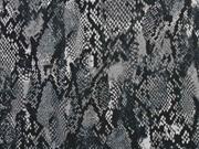 Sweatstoff French Terry Schlangenmuster, grau schwarz