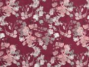 Jersey Blütenzweige Digitaldruck, bordeaux