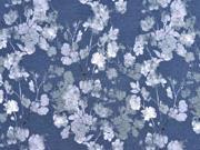 Jersey Blütenzweige Digitaldruck , dunkel jeansblau