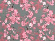 RESTSTÜCK 30 cm Jersey Blütenzweige Digitaldruck, rosa mittelgrau
