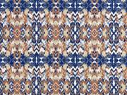 Sweatstoff French Terry Ethno Muster, blau hellbraun