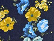 Alpenfleece Sweat Jeanslook große herbstliche Blumen, dunkelblau