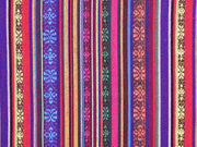Mexiko Stoff Streifen Bordüren, bunt orange