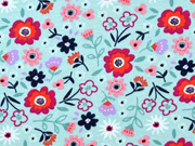Sweatstoff Blumen Blümchen,pink dunkelblau mint