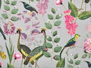 Canvas Stoff tropische Vögel Blumen Gräser, grau