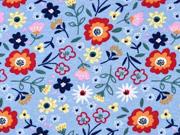 Sweatstoff Blumen Blümchen, rot dunkelblau hellblau