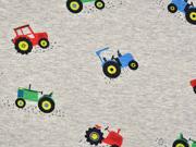 Sweatstoff Traktoren, grau meliert