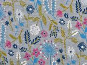 Sweatstoff Blumen Blätter Zweige, jeansblau meliert