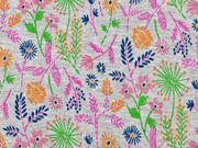 Sweatstoff Blumen Blätter Zweige, pink hellgrün grau meliert