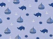 Jersey Segelboote Wale Steuerrad Anker, dunkelblau hellblau