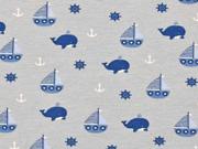 Jersey Segelboote Wale Steuerrad Anker, dunkelblau grau