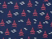Jersey Segelboote Fische, weiß rot dunkelblau
