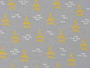 Jersey Segelboote Fische, weiß ocker grau